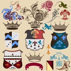 Collection of heraldic decorative elements