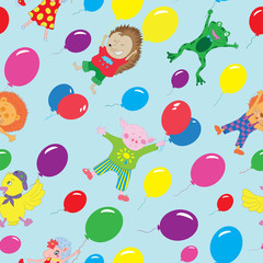Seamless background with funny animals and balloons