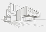 linear sketch modern building on light gray background - 81711112
