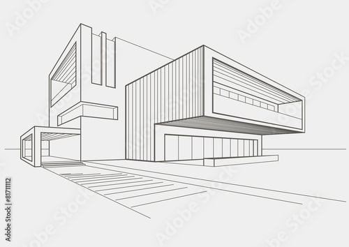 Fototapeta linear sketch modern building on light gray background