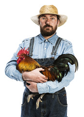 Farmer with rooster