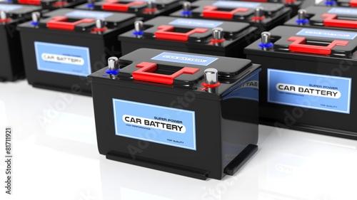 Leinwanddruck Bild Car batteries, isolated on white background