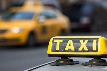 image sign of a taxi closeup