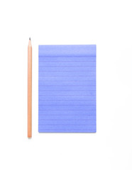 Blank note paper with lines and pencil on white background