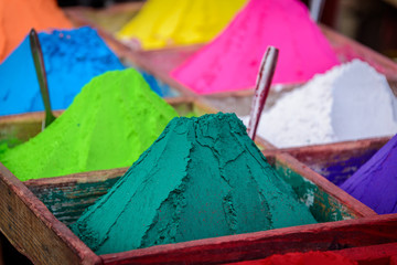 Colorful powders in Kathmandu