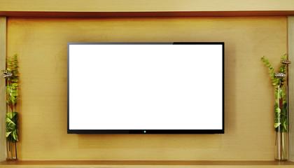 Led tv hanging on wood wall