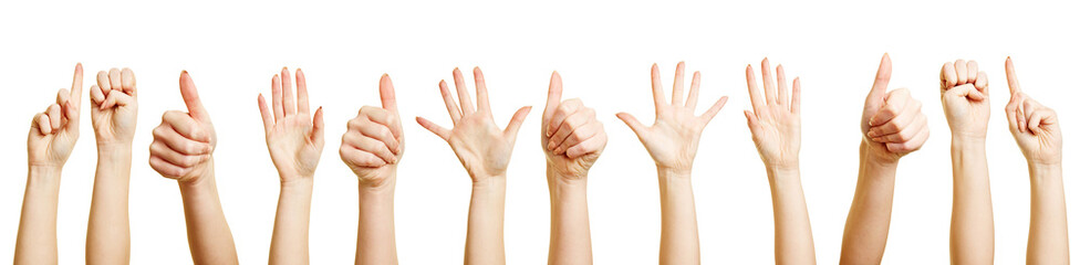 Viele Hände machen verschiedene Zeichen