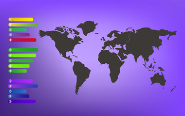 World map on purple blurred background with infographic labels