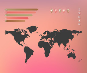 World map on blurred background with infographic labels, pins