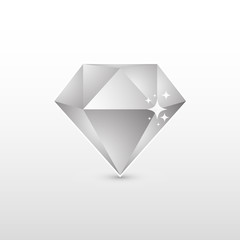 Shiny monochrome geometric diamond, vector