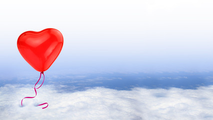 Red heart balloon on blue sky with white clouds, conceptual