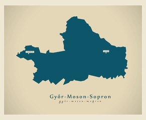 Modern Map - Gyor Moson Sopron HU