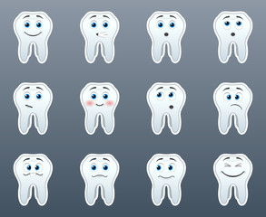 Set of stickers teeth