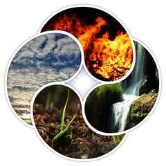 Die 4 Grundelemente der Natur - Feuer, Wasser, Erde, Luft