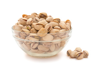 Pistachio nuts in a glass bowl