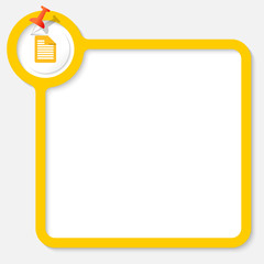 Yellow frame for your text and document icon