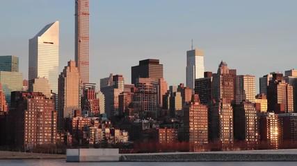 New York City Manhattan midtown skyline sunrise