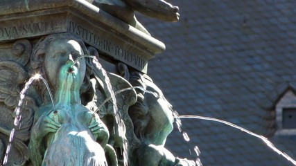 Fountain and Ancient Statue in Frankfurt
