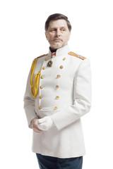 Man in russian officer coat
