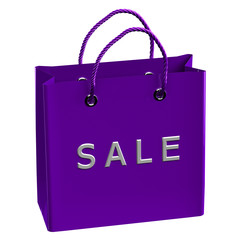 Purple shopping bag with word sale