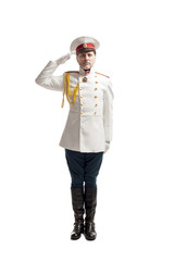 Man in russian officer coat