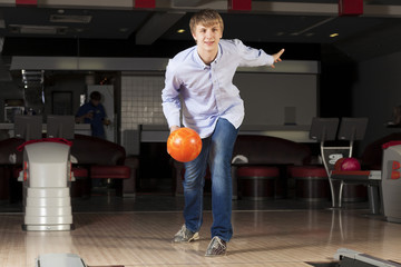 Guy playing bowling