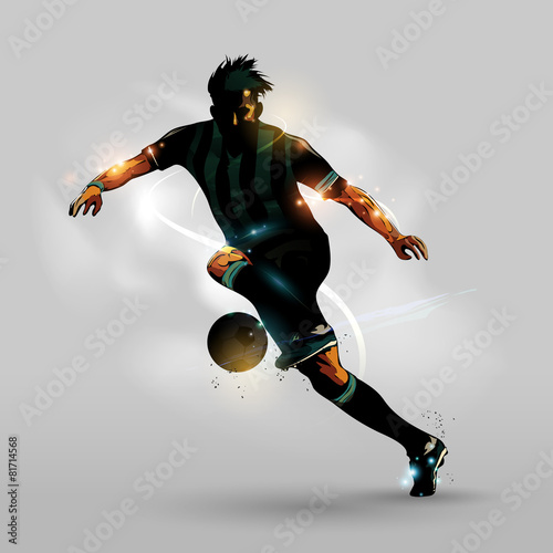 Abstract soccer running with ball