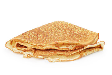 fresh hot blinis or crepes isolated on white