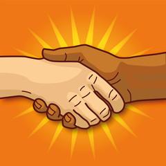 Hände beim Händeschütteln und Verständnis