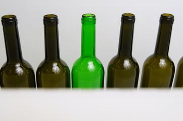 Glass bottles.