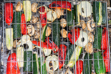 vegetables on the grill grate