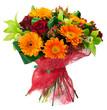 Leinwanddruck Bild - Bouquet of flowers in pink package