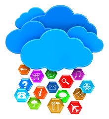 Clouds and pictograms (clipping path included)