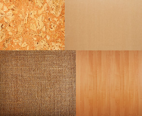 Collection of textures backgrounds - burlap, cork, timber, corru