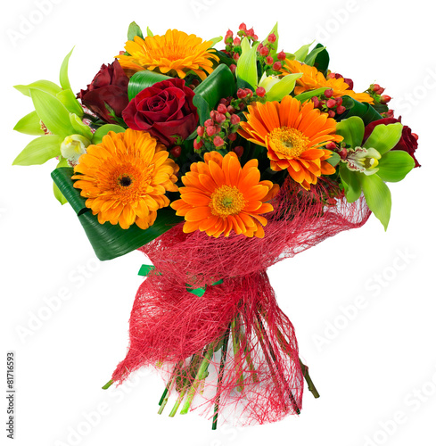 Tuinposter Bloemenwinkel Bouquet of flowers in pink package