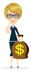 Successful businesswoman with a Bag of Dollar, Gold Cash. Vector
