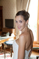 Nice and Beautiful bride in luxury hotel