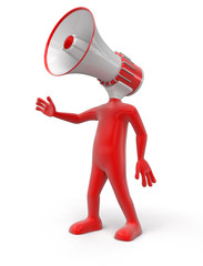 Man and Megaphone (clipping path included)