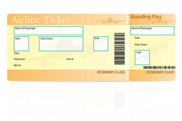 airline ticket economy class vector illustration
