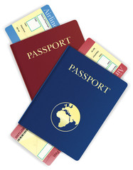 passport and airline ticket vector illustration