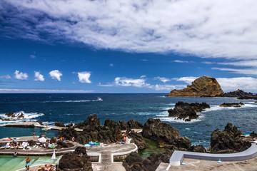Natural pools in resort Portu Moniz, Madeira island, Portugal