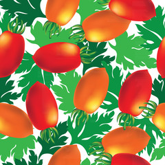 Cherry tomato seamless vector background