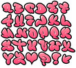 Постер, плакат: graffiti bubble vector fonts with gloss and outline variation