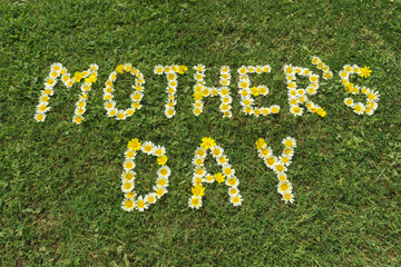 Word Mother´s day at blossoms in grass