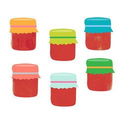 Set from colorful jars, vector illustration