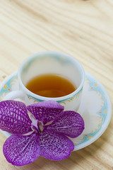 Tea cup on a wooden table