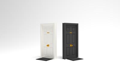 Puertas blanca y negra