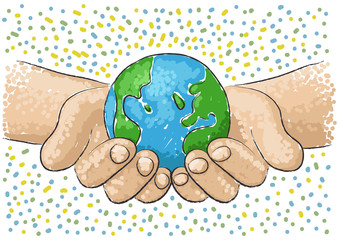 hand supports the world