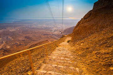 Stairway and cableway to Masada fortress, Israel.