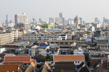 Bangkok panorama from Golden mountain, Thailand.